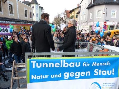 Demo in Starnberg im Kommunalwahlkampf 2015 mit dem Grünen Fraktionsvorsitzenden im Bayer. Landtag, Ludwig Hartmann